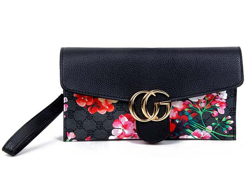 A-SHU DESIGNER STYLE FLORAL PRINT CROSS-BODY CLUTCH BAG WITH WRIST STRAP - BLACK - A-SHU.CO.UK