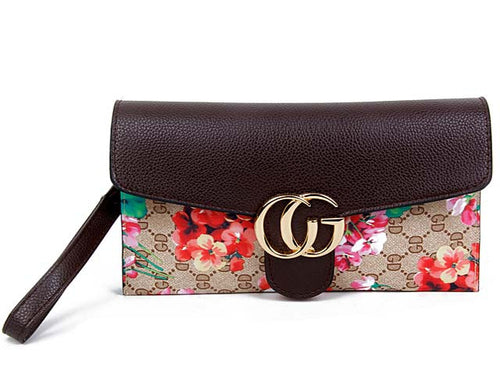 A-SHU DESIGNER STYLE FLORAL PRINT CROSS-BODY CLUTCH BAG WITH WRIST STRAP - BROWN - A-SHU.CO.UK