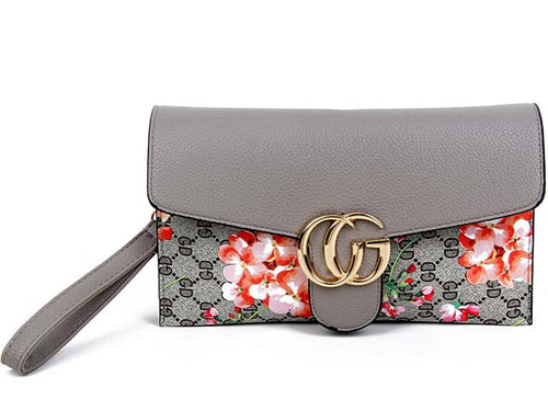 A-SHU DESIGNER STYLE FLORAL PRINT CROSS-BODY CLUTCH BAG WITH WRIST STRAP - GREY - A-SHU.CO.UK
