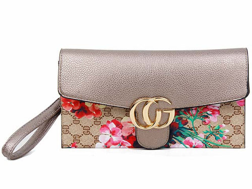 A-SHU DESIGNER STYLE FLORAL PRINT CROSS-BODY CLUTCH BAG WITH WRIST STRAP - SILVER - A-SHU.CO.UK