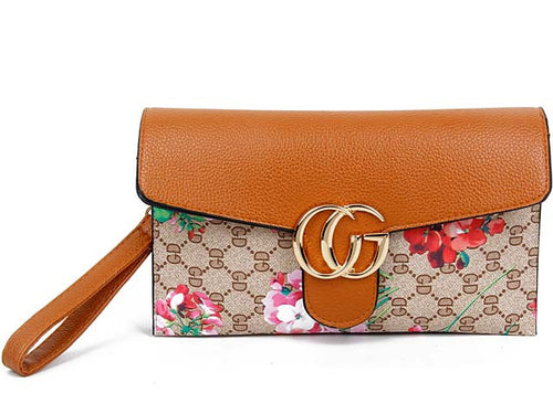 A-SHU DESIGNER STYLE FLORAL PRINT CROSS-BODY CLUTCH BAG WITH WRIST STRAP - TAN - A-SHU.CO.UK