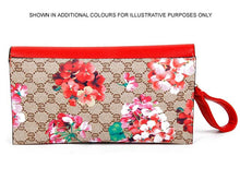 DESIGNER STYLE FLORAL PRINT CROSS-BODY CLUTCH BAG WITH WRIST STRAP - BROWN
