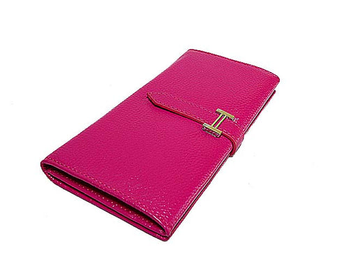 A-SHU GENUINE LEATHER PURSE - FUSHCIA PINK - A-SHU.CO.UK