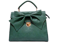A-SHU DESIGNER STYLE GREEN BOW DESIGN HOLDALL HANDBAG WITH LONG SHOULDER STRAP - A-SHU.CO.UK