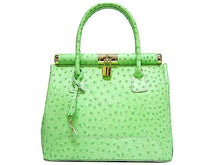 A-SHU DESIGNER STYLE GREEN GENUINE OSTRICH LEATHER HOLDALL HANDBAG WITH LOCK, KEY AND LONG STRAP - A-SHU.CO.UK