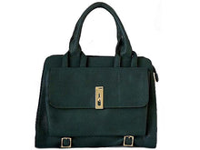 A-SHU DESIGNER STYLE GREEN MULTI-COMPARTMENT HANDBAG WITH FRONT FLAP AND LONG STRAP - A-SHU.CO.UK