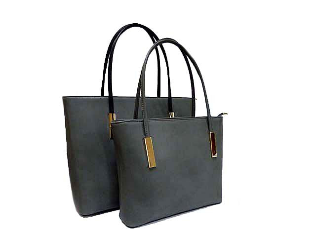 A-SHU GREY 2 PIECE BAG IN BAG HANDBAG SET - A-SHU.CO.UK