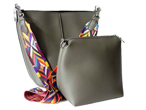 A-SHU GREY BAG IN BAG SHOULDER BAG SET WITH MULTI-COLOUR STRAP - A-SHU.CO.UK