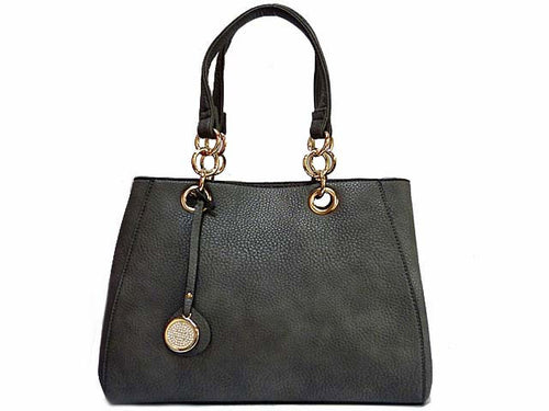 A-SHU DESIGNER STYLE GREY MULTI-COMPARTMENT CHAIN HANDBAG WITH STRAP - A-SHU.CO.UK