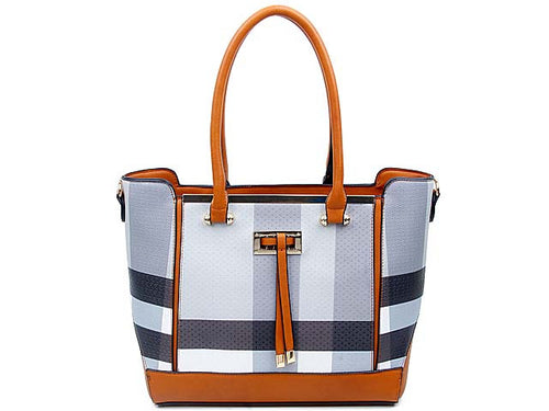 A-SHU DESIGNER STYLE GREY MULTI-COMPARTMENT CHECKED HANDBAG WITH LONG STRAP - A-SHU.CO.UK