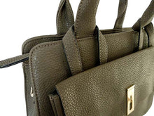 DESIGNER STYLE TAUPE GREY MULTI-COMPARTMENT HANDBAG WITH FRONT FLAP AND LONG STRAP