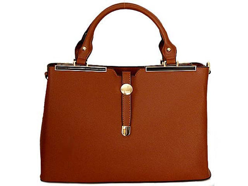 DESIGNER STYLE LIGHTWEIGHT BROWN MULTI-COMPARTMENT HOLDALL HANDBAG WITH LONG STRAP