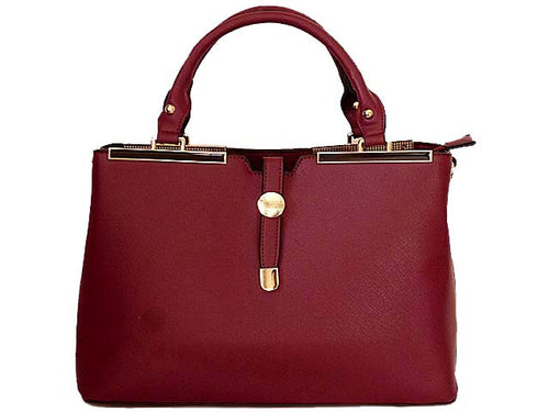 DESIGNER STYLE LIGHTWEIGHT MAROON MULTI-COMPARTMENT HOLDALL HANDBAG WITH LONG STRAP