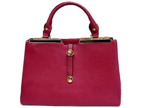 DESIGNER STYLE LIGHTWEIGHT RASPBERRY MULTI-COMPARTMENT HOLDALL HANDBAG WITH LONG STRAP