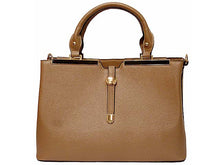 A-SHU DESIGNER STYLE LIGHTWEIGHT TAUPE MULTI-COMPARTMENT HOLDALL HANDBAG WITH LONG STRAP - A-SHU.CO.UK