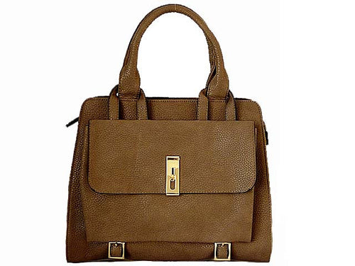 A-SHU DESIGNER STYLE BROWN MULTI-COMPARTMENT HANDBAG WITH FRONT FLAP AND LONG STRAP - A-SHU.CO.UK