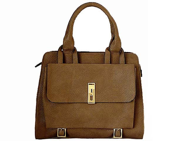 DESIGNER STYLE BROWN MULTI-COMPARTMENT HANDBAG WITH FRONT FLAP AND LONG STRAP