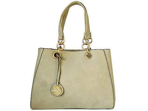 A-SHU LIGHT GREY MULTI-COMPARTMENT CHAIN HANDBAG WITH STRAP - A-SHU.CO.UK