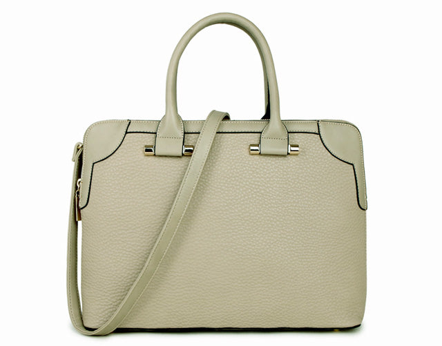 LARGE LIGHT GREY MULTI POCKET LAPTOP HANDBAG WITH LONG SHOULDER STRAP