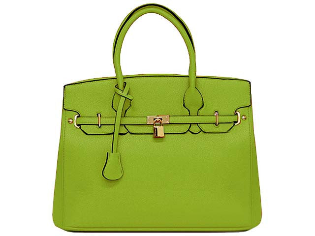 ORDER BY REQUEST - DESIGNER STYLE LIME GREEN MULTI-COMPARTMENT HOLDALL HANDBAG WITH LOCK, KEY AND LONG STRAP
