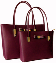 A-SHU DESIGNER STYLE MAROON BOW DESIGN 2 PIECE BAG IN BAG HANDBAG SET - A-SHU.CO.UK