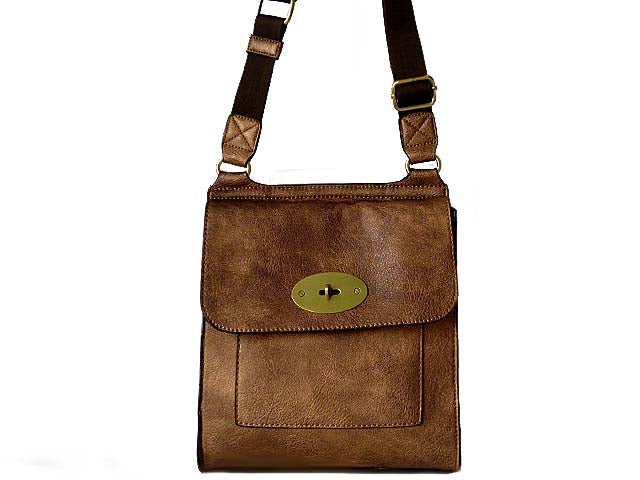 A-SHU DESIGNER STYLE METALLIC BRONZE LEATHER EFFECT CROSS-BODY HANDBAG - A-SHU.CO.UK