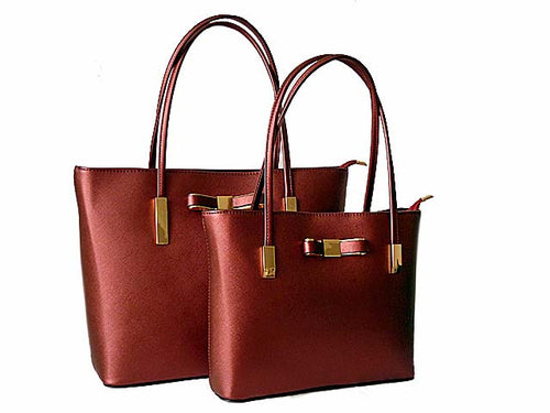 A-SHU ORDER BY REQUEST - DESIGNER STYLE METALLIC MAROON BOW DESIGN 2 PIECE BAG IN BAG HANDBAG SET - A-SHU.CO.UK