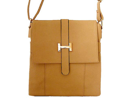 DESIGNER STYLE MULTI-COMPARTMENT BEIGE LEATHER EFFECT CROSS-BODY HANDBAG