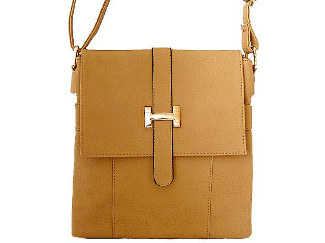 A-SHU DESIGNER STYLE MULTI-COMPARTMENT BEIGE LEATHER EFFECT CROSS-BODY HANDBAG - A-SHU.CO.UK