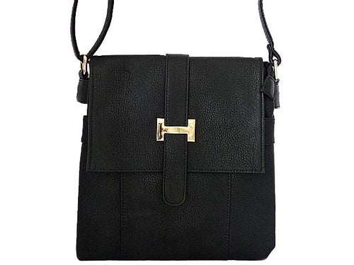 DESIGNER STYLE MULTI-COMPARTMENT BLACK LEATHER EFFECT CROSS-BODY HANDBAG