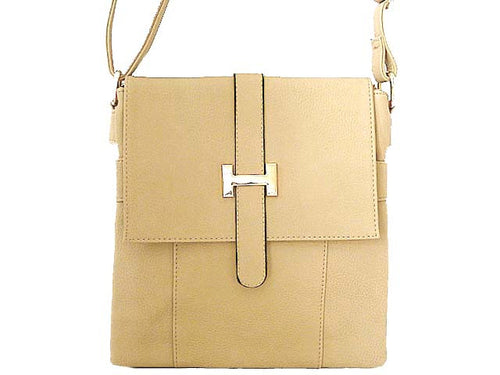 DESIGNER STYLE MULTI-COMPARTMENT CREAM LEATHER EFFECT CROSS-BODY HANDBAG