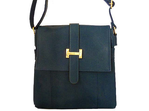 DESIGNER STYLE MULTI-COMPARTMENT NAVY BLUE LEATHER EFFECT CROSS-BODY HANDBAG