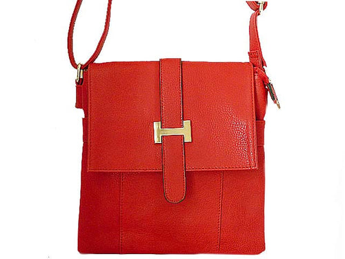 DESIGNER STYLE MULTI-COMPARTMENT RED LEATHER EFFECT CROSS-BODY HANDBAG