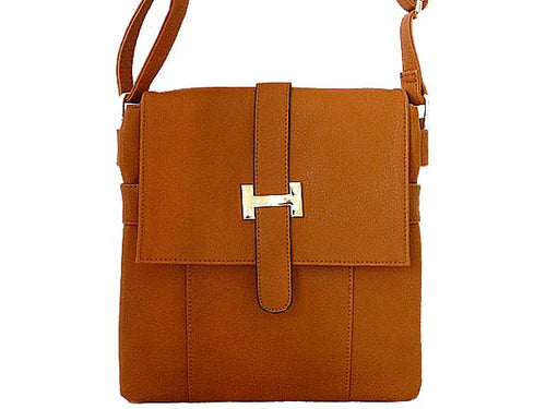 DESIGNER STYLE MULTI-COMPARTMENT TAN LEATHER EFFECT CROSS-BODY HANDBAG