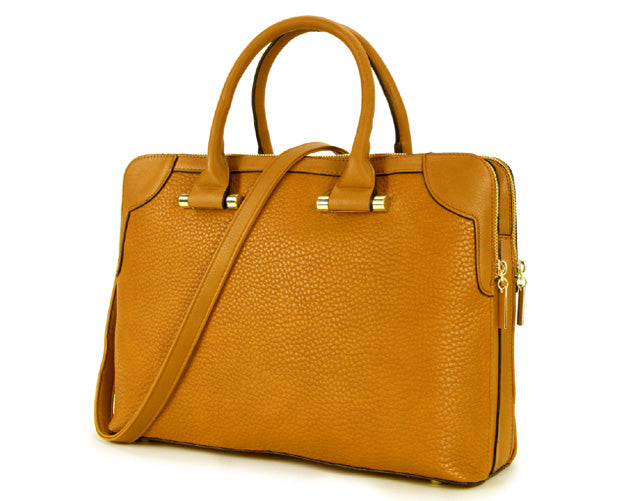 ORDER BY REQUEST - LARGE MUSTARD YELLOW MULTI POCKET LAPTOP HANDBAG WITH LONG SHOULDER STRAP