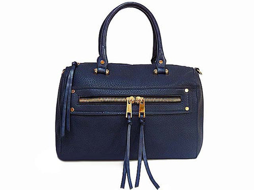 ORDER BY REQUEST - DESIGNER STYLE NAVY BLUE BOWLER STYLE HANDBAG WITH TASSEL DESIGN