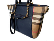 A-SHU DESIGNER STYLE NAVY BLUE CHECKED HANDBAG WITH CHAIN LINKED STRAPS - A-SHU.CO.UK