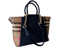 DESIGNER STYLE NAVY BLUE CHECKED HANDBAG WITH CHAIN LINKED STRAPS