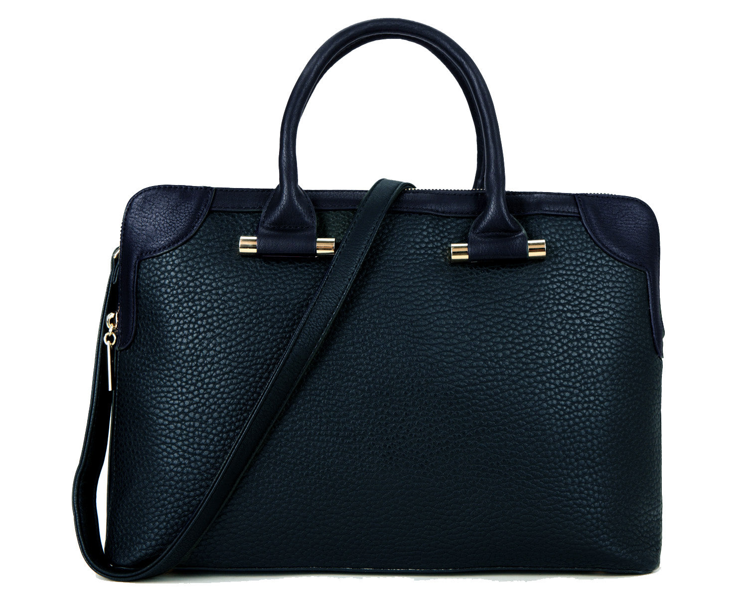 "A-SHU NAVY BLUE 15.6"" LAPTOP HOLDALL HANDBAG WITH MULTI COMPARTMENTS AND LONG SHOULDER STRAP - A-SHU.CO.UK"