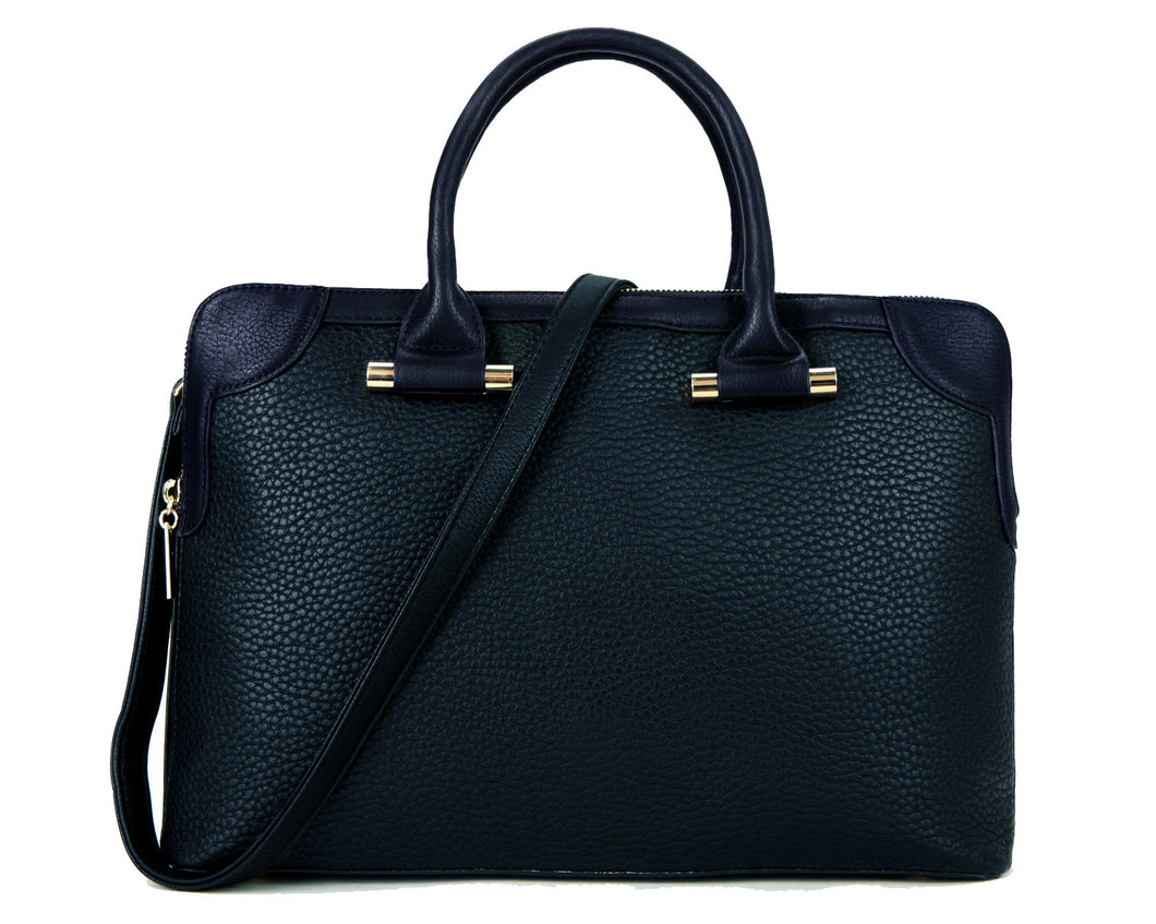 NAVY BLUE MULTI-COMPARTMENT HOLDALL / LAPTOP HANDBAG WITH LONG STRAP