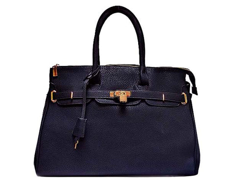 DESIGNER STYLE NAVY BLUE MULTI-COMPARTMENT HOLDALL HANDBAG WITH LOCK, KEY AND LONG STRAP