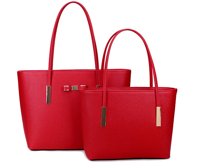 A-SHU DESIGNER STYLE RED BOW DESIGN 2 PIECE BAG IN BAG HANDBAG SET - A-SHU.CO.UK