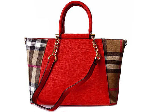 DESIGNER STYLE RED CHECKED HANDBAG WITH CHAIN LINKED STRAPS