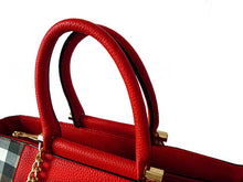 A-SHU DESIGNER STYLE RED CHECKED HANDBAG WITH CHAIN LINKED STRAPS - A-SHU.CO.UK