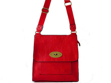A-SHU DESIGNER STYLE RED LEATHER EFFECT MULTI-POCKET CROSS-BODY HANDBAG - A-SHU.CO.UK