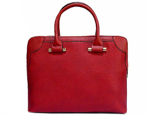 A-SHU DESIGNER STYLE RED MULTI-COMPARTMENT HOLDALL / LAPTOP HANDBAG WITH LONG STRAP - A-SHU.CO.UK