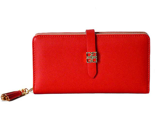 DESIGNER STYLE RED MULTI-COMPARTMENT TASSEL PURSE