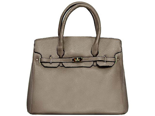 ORDER BY REQUEST - DESIGNER STYLE SILVER GREY MULTI-COMPARTMENT HOLDALL HANDBAG WITH LOCK, KEY AND LONG STRAP
