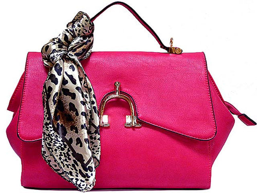DESIGNER STYLE SMALL FUSHCIA PINK HANDBAG WITH HORSE SHOE BUCKLE AND DETACHABLE SCARF