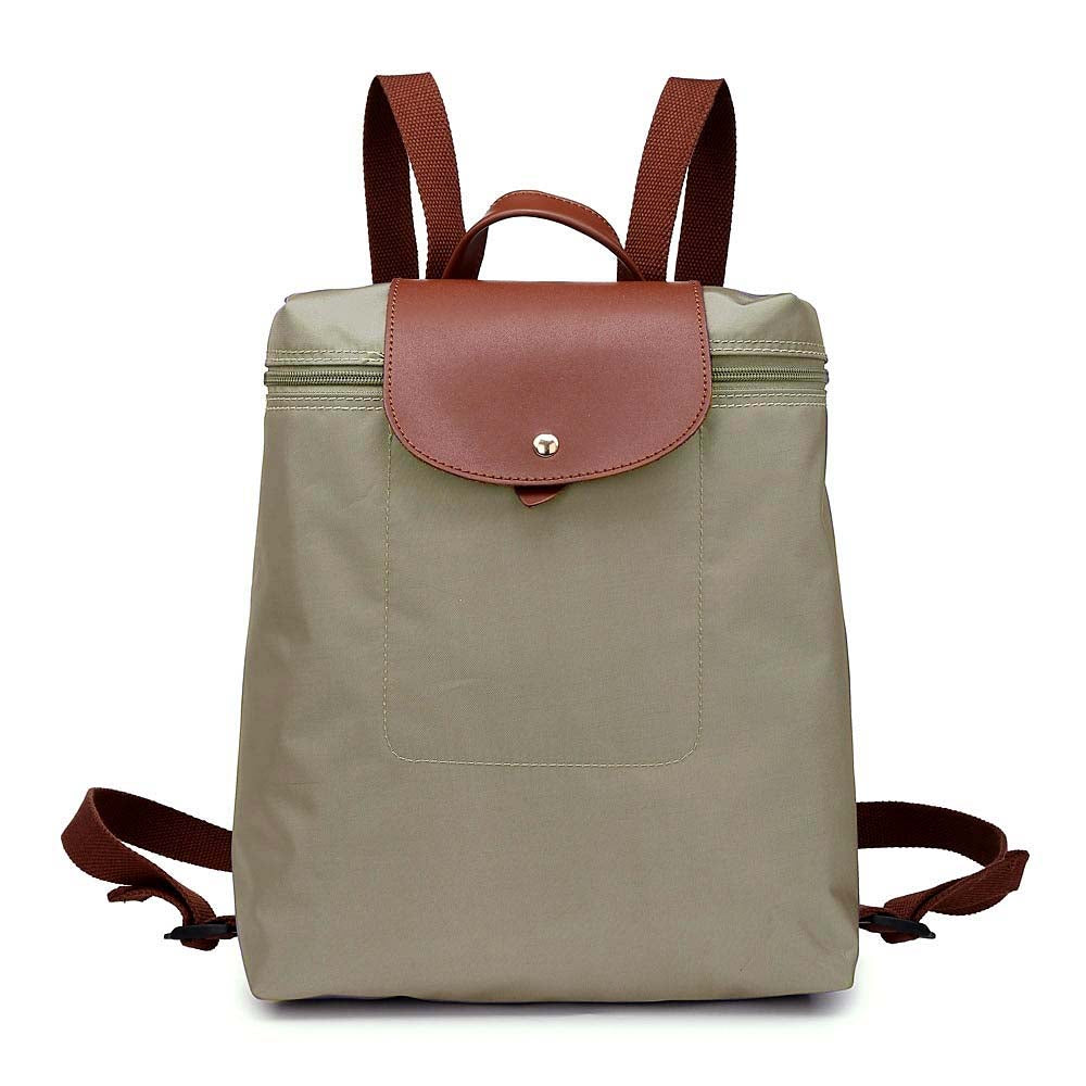 A-SHU DESIGNER STYLE SMALL GREY NYLON FAUX LEATHER SLIM-LINE BACKPACK / RUCKSACK - A-SHU.CO.UK